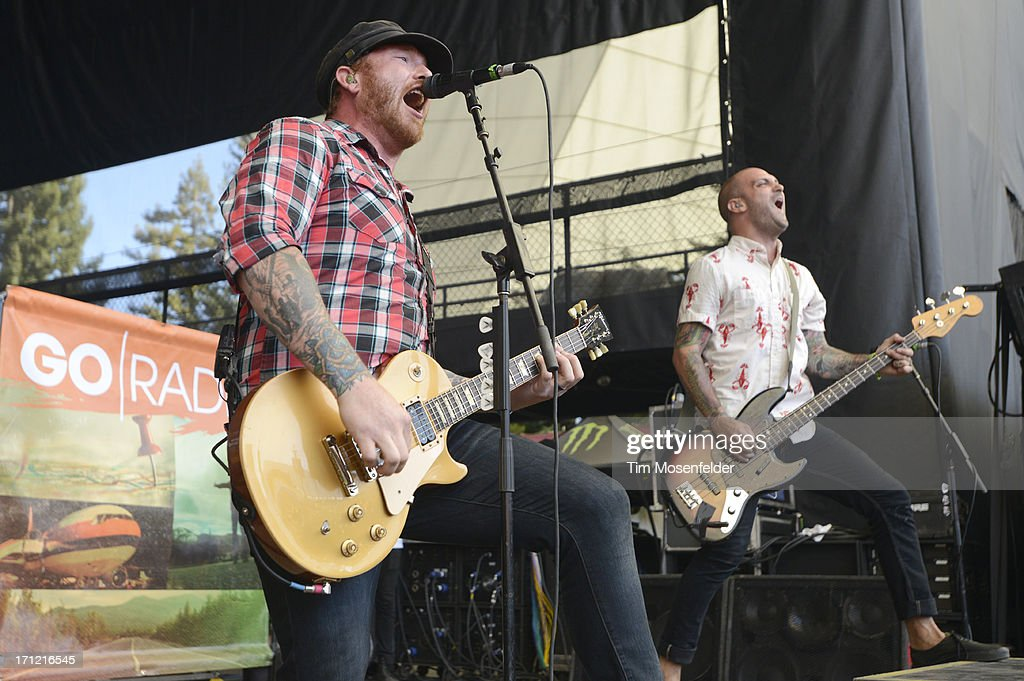 Jason Lancaster (L) of Go Radio performs as part of the Vans Warped Tour at Shoreline Amphitheatre on June 22, 2013 in Mountain View, California.