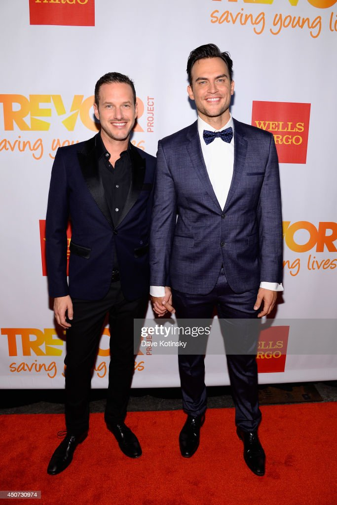 Jason Landau (L) and actor Cheyenne Jackson attend the Trevor Project's 2014 'TrevorLIVE NY' Event at the Marriott Marquis Hotel on June 16, 2014 in New York City.