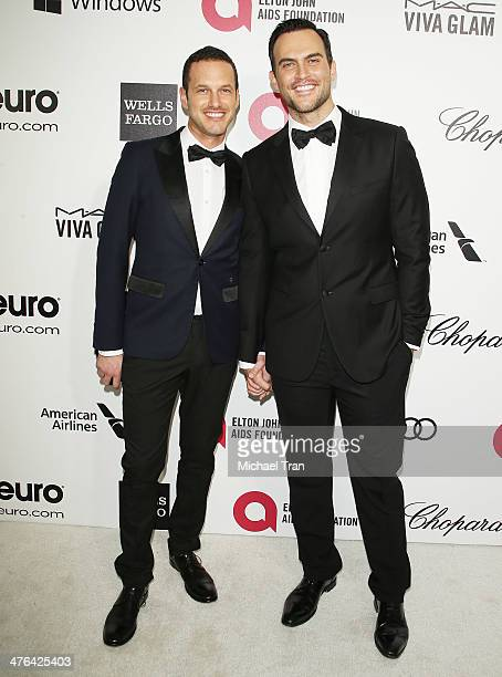 Jason Landau and Cheyenne Jackson arrive at the 22nd Annual Elton John AIDS Foundation's Oscar viewing party held on March 2 2014 in West Hollywood...