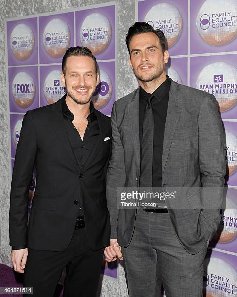 Jason Landau and Cheyenne Jackson attend the Family Equality Council's Los Angeles awards dinner at The Beverly Hilton Hotel on February 28 2015 in...