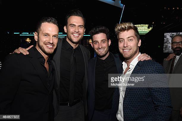 Jason Landau Cheyenne Jackson Michael Turchin and Lance Bass attend the Family Equality Council's 2015 Los Angeles Awards dinner at The Beverly...