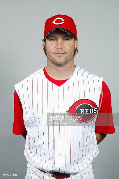 Jason LaRue of the Cincinnati Reds poses for a portrait during photo day at Ed Smith Stadium on February 24 2005 in Sarasota Florida