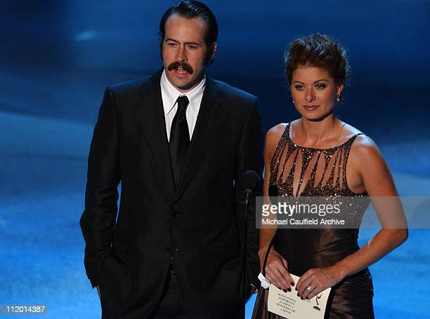 Jason Lee and Debra Messing presenters during The 57th Annual Emmy Awards Show at Shrine Auditorium in Los Angeles California United States
