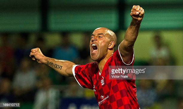 Jason Lee of Forest Mobsters celebrates after scoring against HKFC Veterans on Day one of the Hong Kong International Soccer Sevens at Hong Kong...