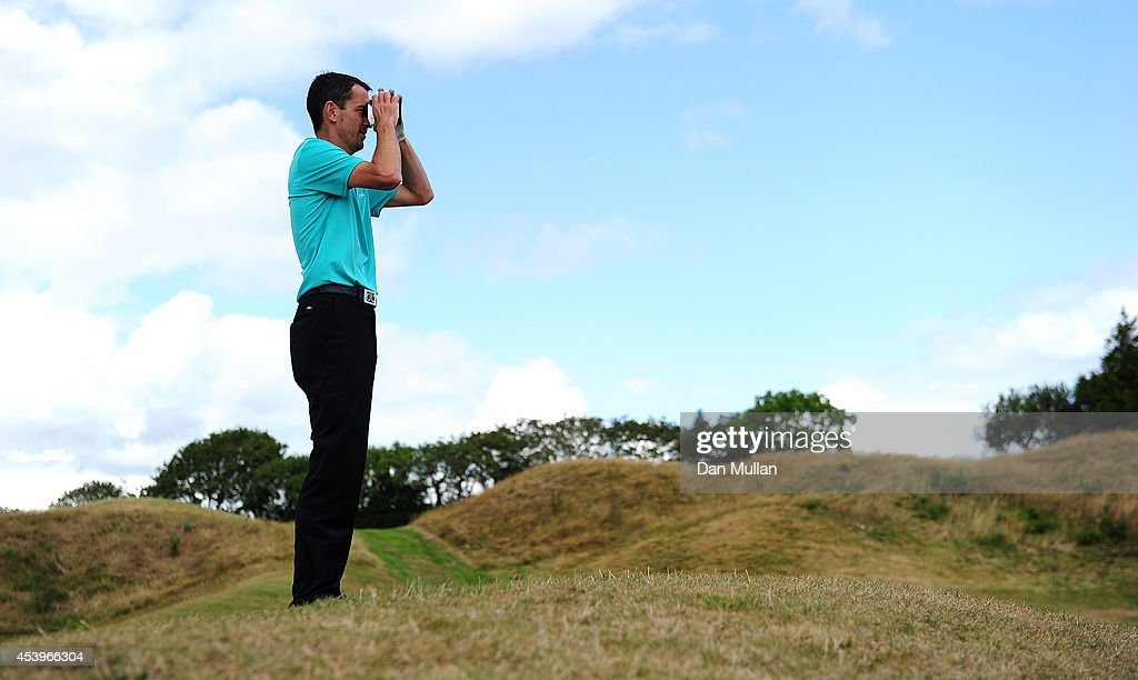Jason Levermore of Channels Golf Club lines up his shot on the 9th hole during day three of the Golfbreakscom PGA Fourball Championship at St Mellion...