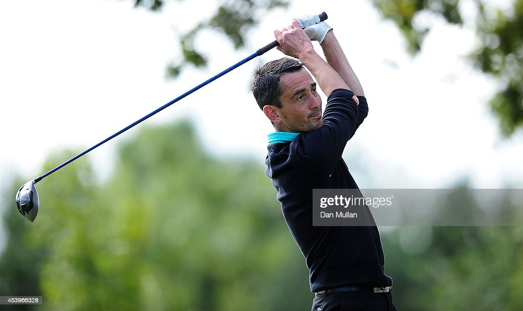 Jason Levermore of Channels Golf Club plays a shot on the 18th hole during day three of the Golfbreakscom PGA Fourball Championship at St Mellion...