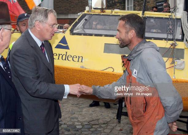 Jason Lewis meets HRH the Duke of Gloucester after he finsihed his human powered around the world trip at the Greenwich Meridian in Greenwich London