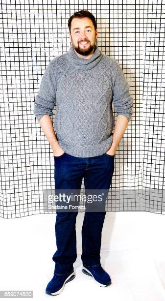 Jason Manford poses backstage after meeting fans and signing copies of his debut album 'A Different Stage' at HMV Manchester on October 8 2017 in...