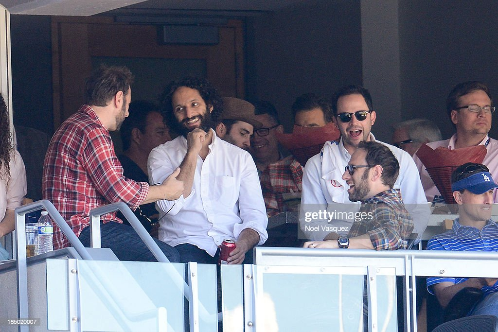 Jason Mantzoukas (L) and <a gi-track='captionPersonalityLinkClicked' href=/galleries/search?phrase=Nick+Kroll&family=editorial&specificpeople=4432339 ng-click='$event.stopPropagation()'>Nick Kroll</a> attend Game Five of the National League Championship Series at Dodger Stadium on October 16, 2013 in Los Angeles, California.
