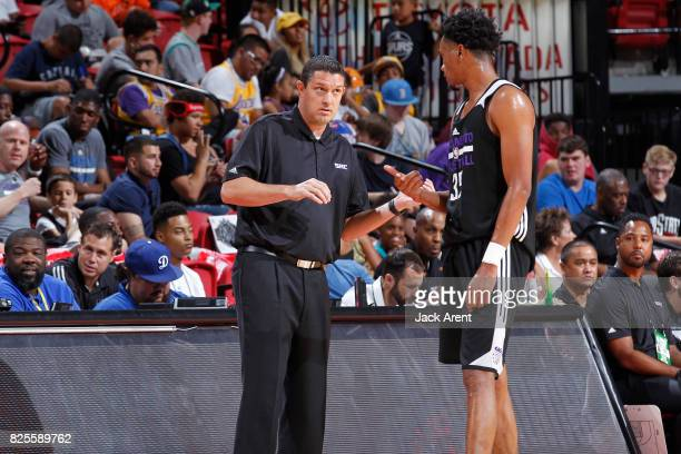 Jason March coaches Luis Montero of the Sacramento Kings during the 2017 NBA Las Vegas Summer League game against the Milwaukee Bucks on July 12 2017...