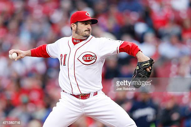Jason Marquis of the Cincinnati Reds pitches in the second inning of the game against the Milwaukee Brewers at Great American Ball Park on April 27...