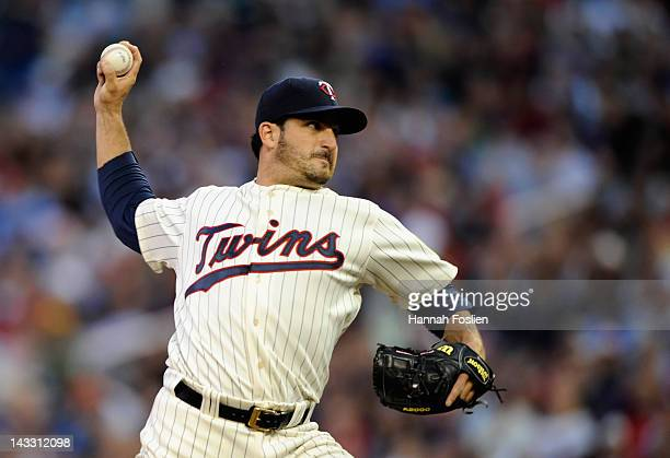 Jason Marquis of the Minnesota Twins delivers a pitch against the Boston Red Sox during the second inning on April 23 2012 at Target Field in...