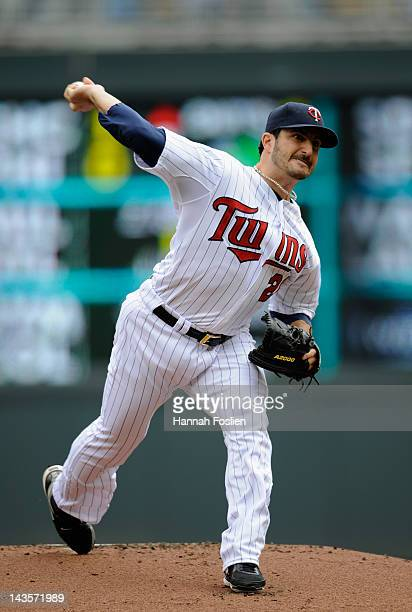 Jason Marquis of the Minnesota Twins delivers a pitch against the Kansas City Royals during the first inning on April 29 2012 at Target Field in...