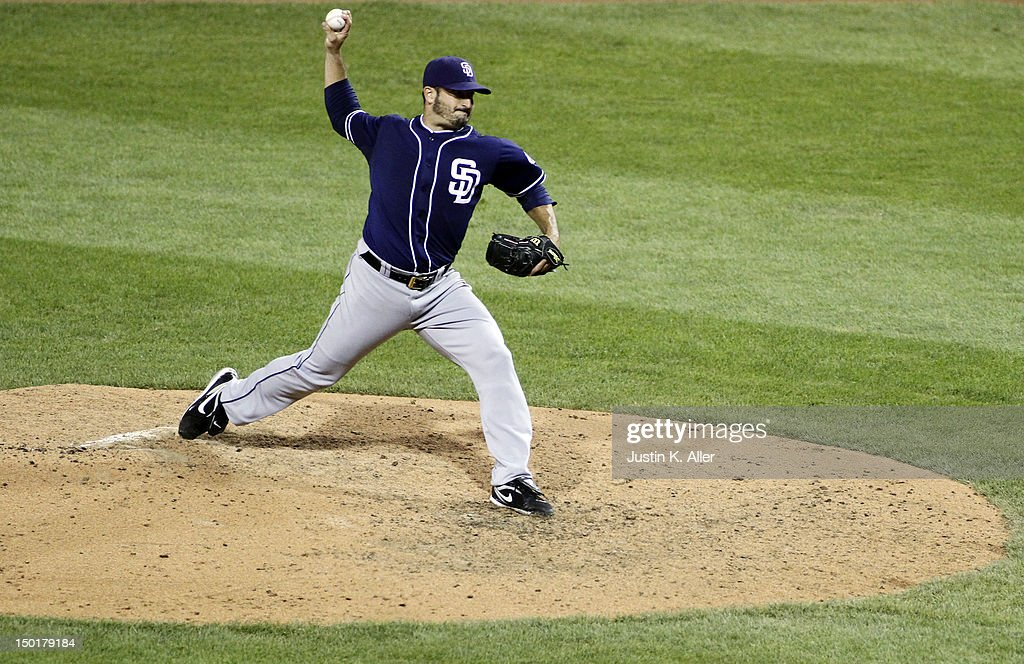 <a gi-track='captionPersonalityLinkClicked' href=/galleries/search?phrase=Jason+Marquis&family=editorial&specificpeople=210770 ng-click='$event.stopPropagation()'>Jason Marquis</a> #38 of the San Diego Padres pitches a two hit complete game shut out against the Pittsburgh Pirates during the game on August 11, 2012 at PNC Park in Pittsburgh, Pennsylvania.