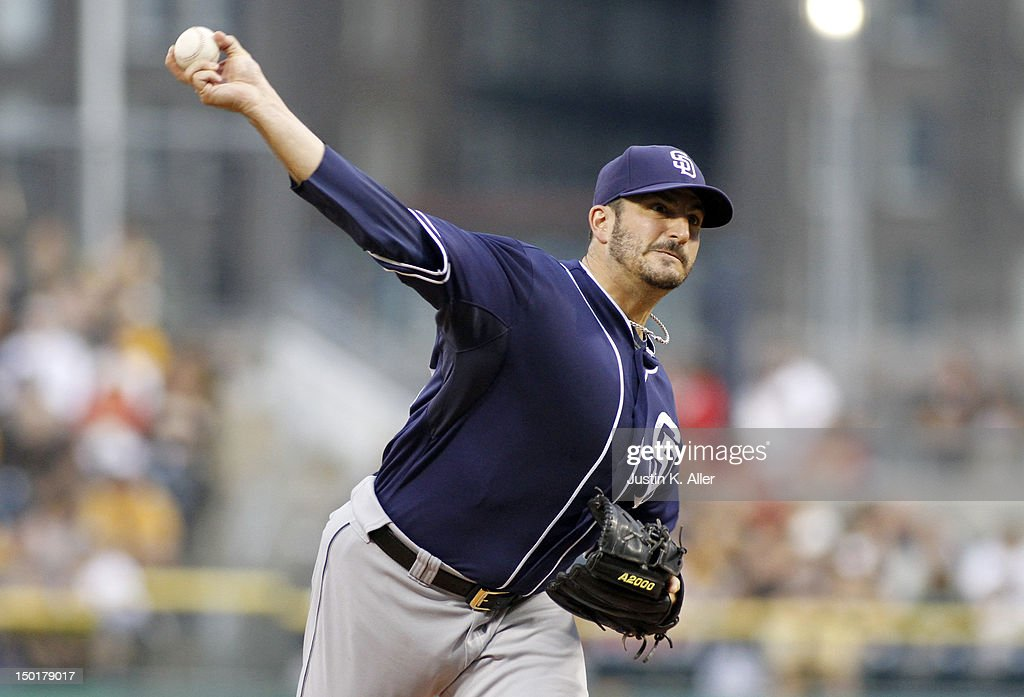 <a gi-track='captionPersonalityLinkClicked' href=/galleries/search?phrase=Jason+Marquis&family=editorial&specificpeople=210770 ng-click='$event.stopPropagation()'>Jason Marquis</a> #38 of the San Diego Padres pitches against the San Diego Padres during the game on August 11, 2012 at PNC Park in Pittsburgh, Pennsylvania.