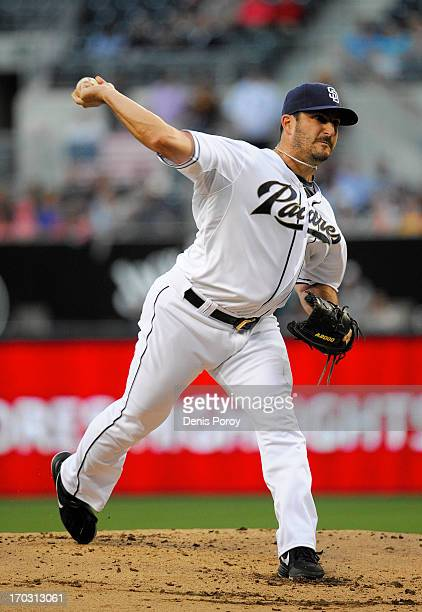 Jason Marquis of the San Diego Padres pitches during the first inning of a baseball game against the Atlanta Braves at Petco Park on June 10 2013 in...
