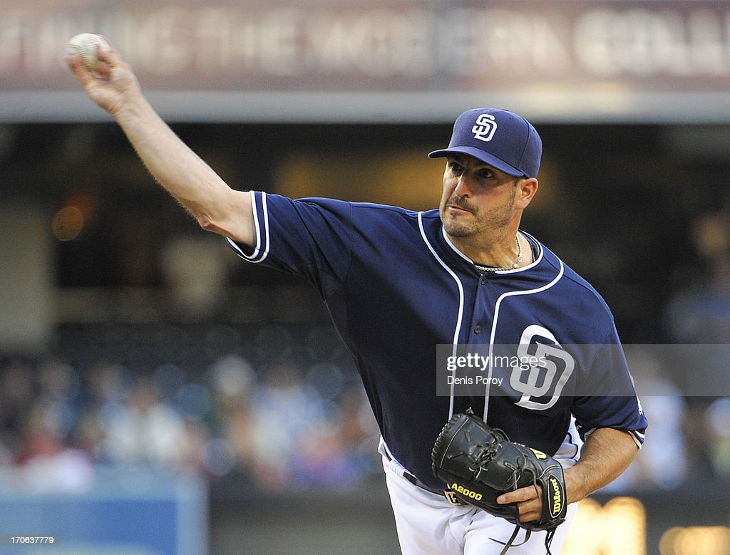 <a gi-track='captionPersonalityLinkClicked' href=/galleries/search?phrase=Jason+Marquis&family=editorial&specificpeople=210770 ng-click='$event.stopPropagation()'>Jason Marquis</a> #21 of the San Diego Padres pitches during the first inning of a baseball game against the Arizona Diamondbacks at Petco Park on June 15, 2013 in San Diego, California.