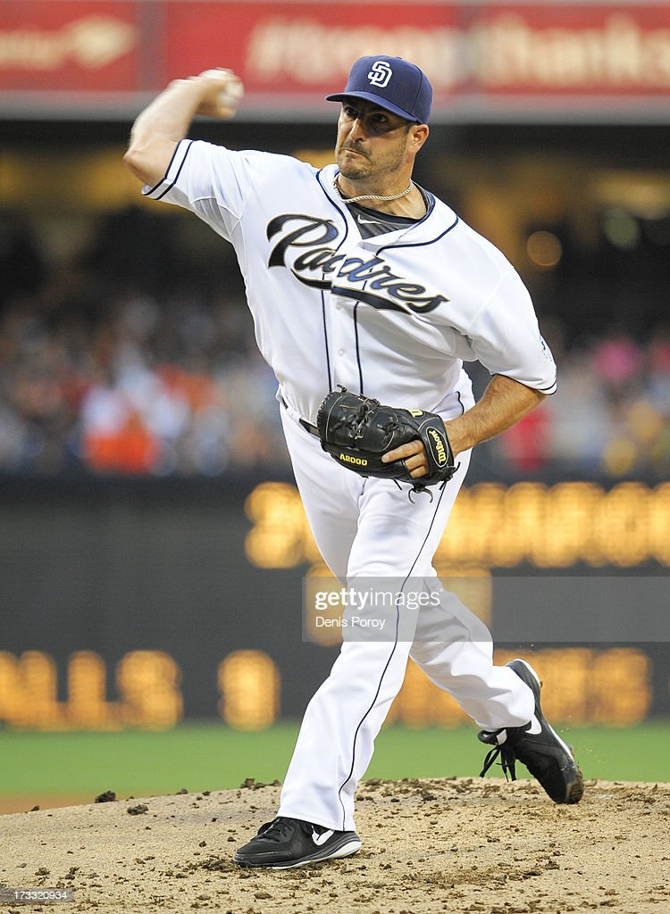 <a gi-track='captionPersonalityLinkClicked' href=/galleries/search?phrase=Jason+Marquis&family=editorial&specificpeople=210770 ng-click='$event.stopPropagation()'>Jason Marquis</a> #21 of the San Diego Padres pitches during the first inning of a baseball game against the San Francisco Giants at Petco Park on July 11, 2013 in San Diego, California.