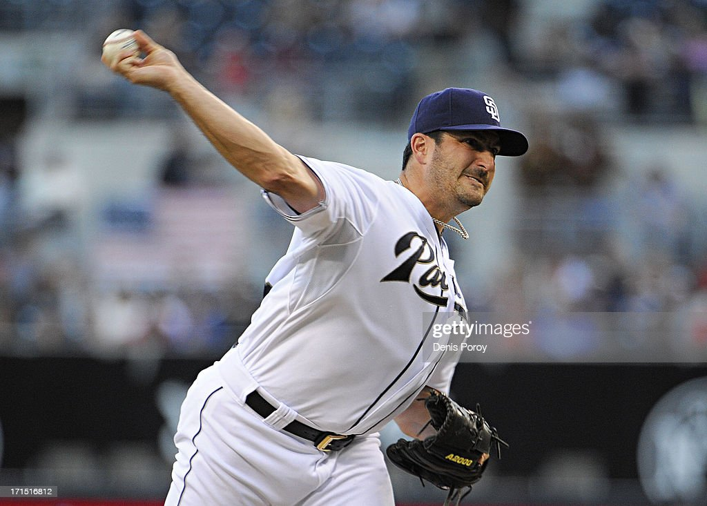 Jason Marquis #21 of the San Diego Padres pitches during the second inning of a baseball game against the Philadelphia Phillies at Petco Park on June 25, 2013 in San Diego, California.