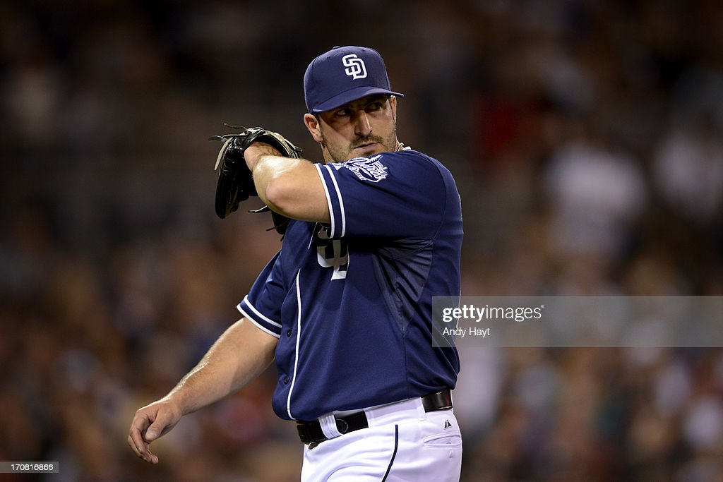 Jason Marquis #21 of the San Diego Padres walks from the mound after pitching against the Arizona Diamondbacks at Petco Park on June 15, 2013 in San Diego, California.