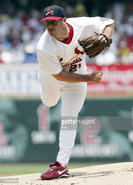 Jason Marquis of the St Louis Cardinals delivers a pitch against the Kansas City Royals on July 2 2006 at Busch Stadium in St Louis Missouri The St...