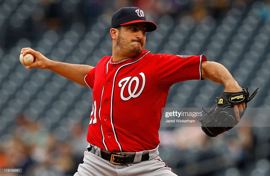<a gi-track='captionPersonalityLinkClicked' href=/galleries/search?phrase=Jason+Marquis&family=editorial&specificpeople=210770 ng-click='$event.stopPropagation()'>Jason Marquis</a> #21 of the Washington Nationals pitches against the Pittsburgh Pirates during the game on April 24, 2011 at PNC Park in Pittsburgh, Pennsylvania.