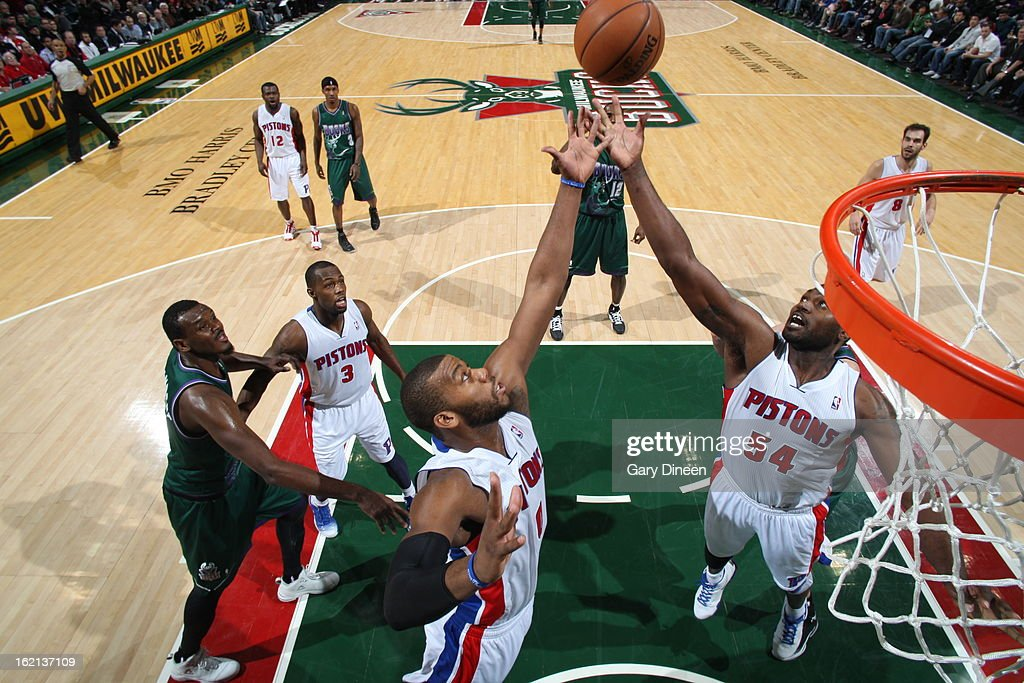 Jason Maxiell #54 and Greg Monroe #10 of the Detroit Pistons grabs the rebound against the Milwaukee Bucks on February 9, 2013 at the BMO Harris Bradley Center in Milwaukee, Wisconsin.