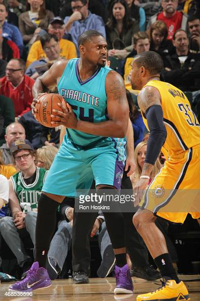 Jason Maxiell of the Charlotte Hornets defends the ball against the Indiana Pacers during the game on April 3 2015 at Bankers Life Fieldhouse in...