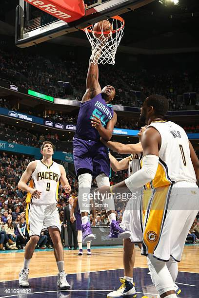 Jason Maxiell of the Charlotte Hornets dunks against the Indiana Pacers during the game at the Time Warner Cable Arena on January 17 2015 in...