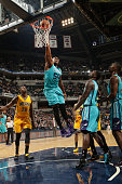 Jason Maxiell of the Charlotte Hornets dunks against the Indiana Pacers during the game on April 3 2015 at Bankers Life Fieldhouse in Indianapolis...