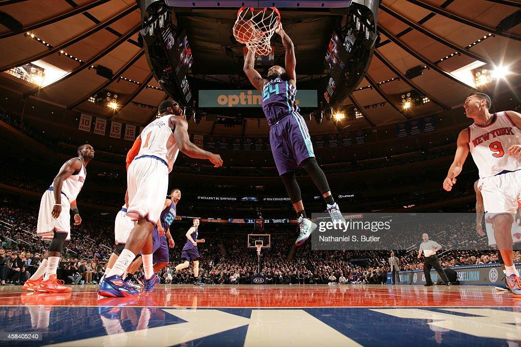 Jason Maxiell of the Charlotte Hornets dunks against the New York Knicks on November 2 2014 at Madison Square Garden in New York City New York NOTE...