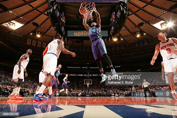 Jason Maxiell of the Charlotte Hornets dunks against the New York Knicks on November 2 2014 at Madison Square Garden in New York City New York NOTE...