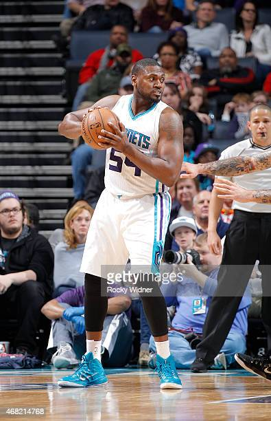 Jason Maxiell of the Charlotte Hornets handles the ball against the Atlanta Hawks on March 28 2015 at Time Warner Cable Arena in Charlotte North...