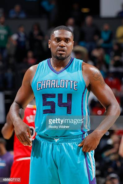 Jason Maxiell of the Charlotte Hornets looks on during the game against the Chicago Bulls on March 13 2015 at Time Warner Cable Arena in Charlotte...
