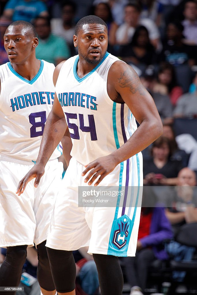 Jason Maxiell of the Charlotte Hornets looks on during the game against the Detroit Pistons on April 1 2015 at Time Warner Cable Arena in Charlotte...