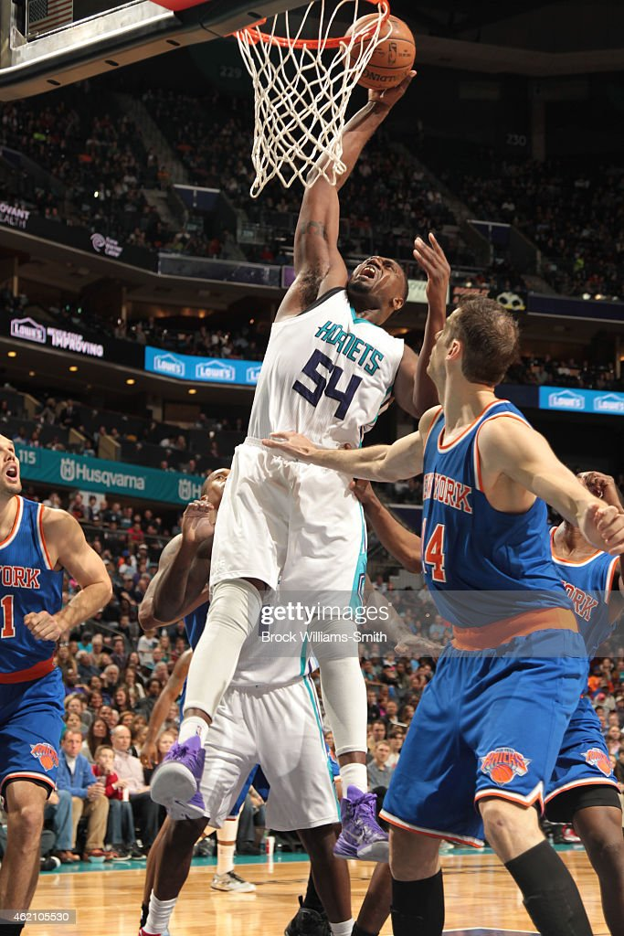 Jason Maxiell of the Charlotte Hornets shoots against the New York Knicks during the game at the Time Warner Cable Arena on January 24 2015 in...