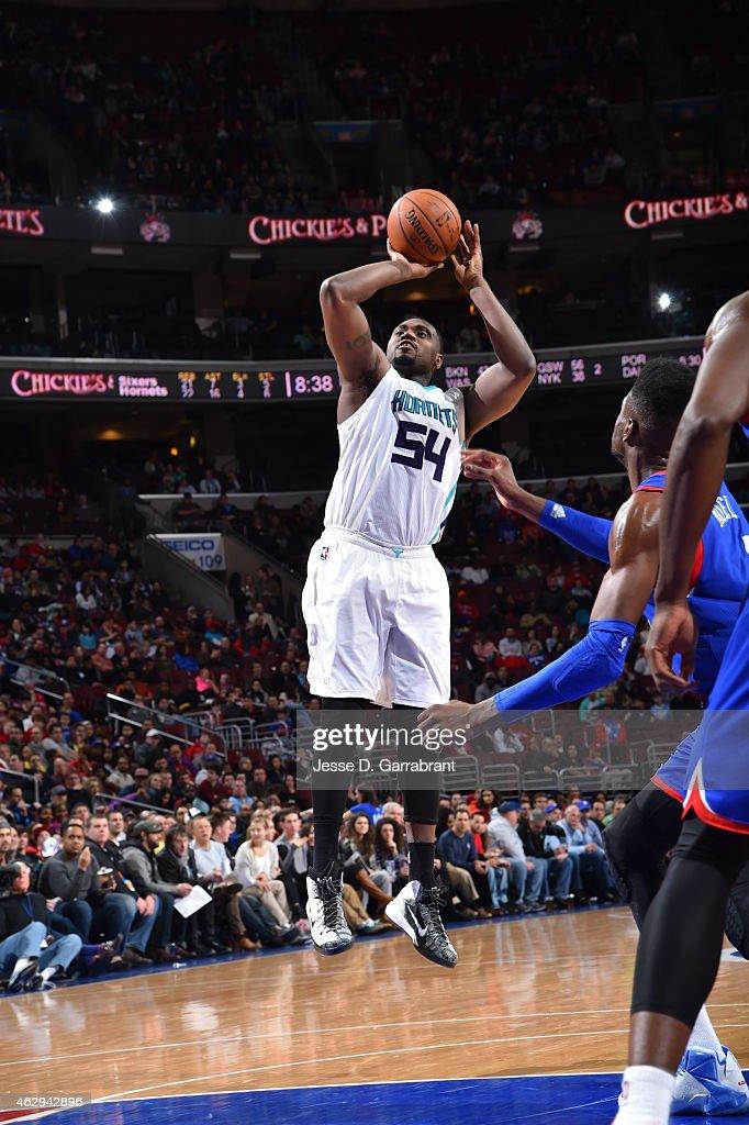 Jason Maxiell of the Charlotte Hornets shoots the ball against the Philadelphia 76ers at Wells Fargo Center on February 7 2015 in Philadelphia...