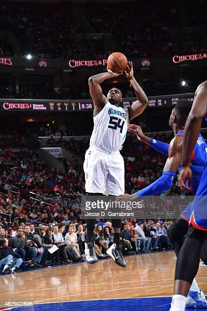 Jason Maxiell of the Charlotte Hornets shoots the ball against the Philadelphia 76ers at Wells Fargo Center on February 7 2015 in Philadelphia...