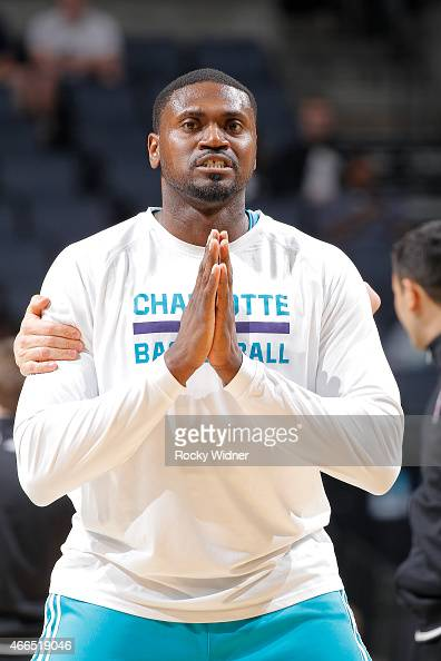 Jason Maxiell of the Charlotte Hornets warms up against the Sacramento Kings on March 11 2015 at Time Warner Cable Arena in Charlotte North Carolina...