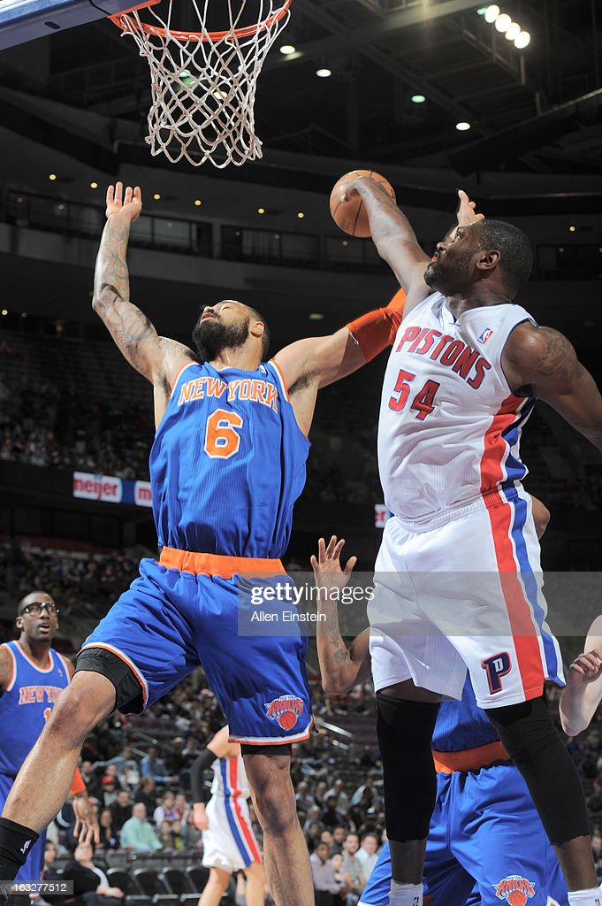 Jason Maxiell #54 of the Detroit Pistons blocks the shot of Tyson Chandler #6 of the New York Knicks during the game between the Detroit Pistons and the Atlanta Hawks on March 6, 2013 at The Palace of Auburn Hills in Auburn Hills, Michigan.