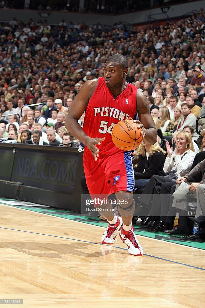 Jason Maxiell #54 of the Detroit Pistons dribbles against the Minnesota Timberwolves during the game at Target Center on January 19, 2007 in Minneapolis, Minnesota. The Pistons won 104-98.
