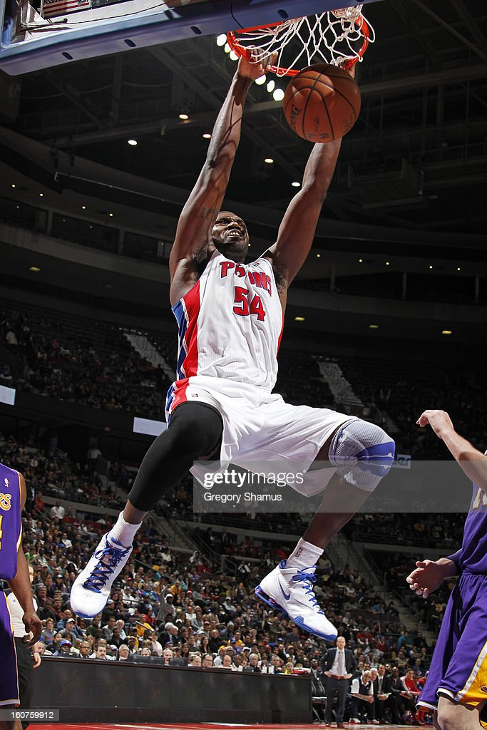 Jason Maxiell #54 of the Detroit Pistons dunks the ball against the Los Angeles Lakers on February 3, 2013 at The Palace of Auburn Hills in Auburn Hills, Michigan.