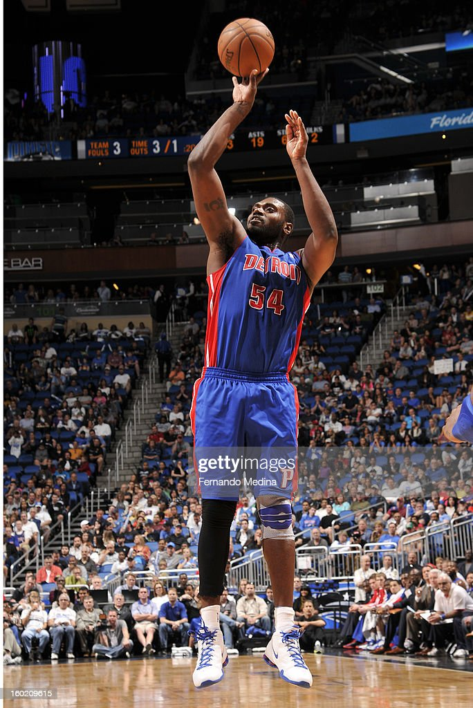 Jason Maxiell #54 of the Detroit Pistons goes for a jump shot during the game between the Detroit Pistons and the Orlando Magic on January 27, 2013 at Amway Center in Orlando, Florida.