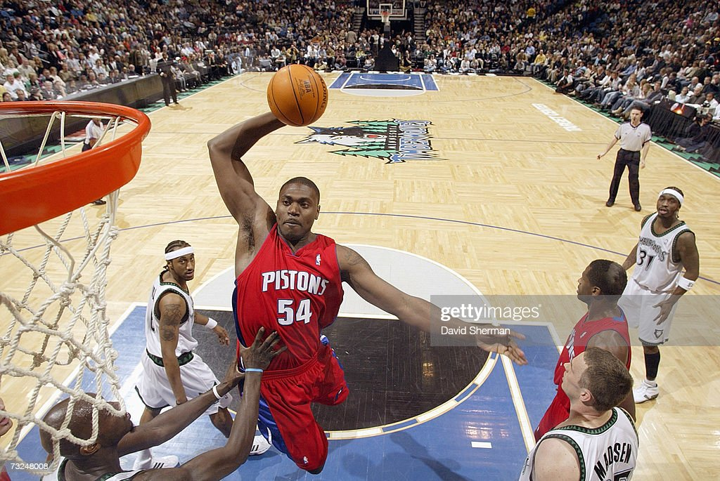 Jason Maxiell #54 of the Detroit Pistons goes to the basket against the Minnesota Timberwolves during the game at Target Center on January 19, 2007 in Minneapolis, Minnesota. The Pistons won 104-98.