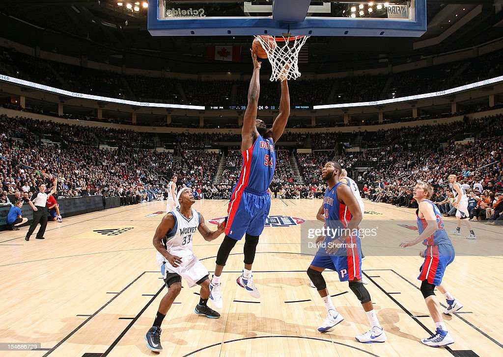 Jason Maxiell #54 of the Detroit Pistons goes to the basket during the game between the Minnesota Timberwolves and the Detroit Pistons during the NBA preseason as part of NBA Canada Series 2012 on October 24, 2012 at the MTS Centre in Winnipeg, Manitoba, Canada.