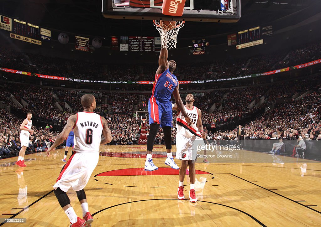 <a gi-track='captionPersonalityLinkClicked' href=/galleries/search?phrase=Jason+Maxiell&family=editorial&specificpeople=651723 ng-click='$event.stopPropagation()'>Jason Maxiell</a> #54 of the Detroit Pistons goes to the basket during the game between the Detroit Pistons and the Portland Trail Blazers on March 16, 2013 at the Rose Garden Arena in Portland, Oregon.