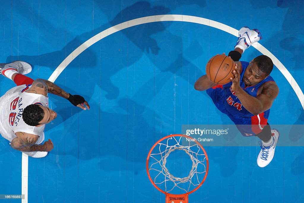 <a gi-track='captionPersonalityLinkClicked' href=/galleries/search?phrase=Jason+Maxiell&family=editorial&specificpeople=651723 ng-click='$event.stopPropagation()'>Jason Maxiell</a> #54 of the Detroit Pistons goes up for the shot against the Los Angeles Clippers at Staples Center on March 10, 2013 in Los Angeles, California.