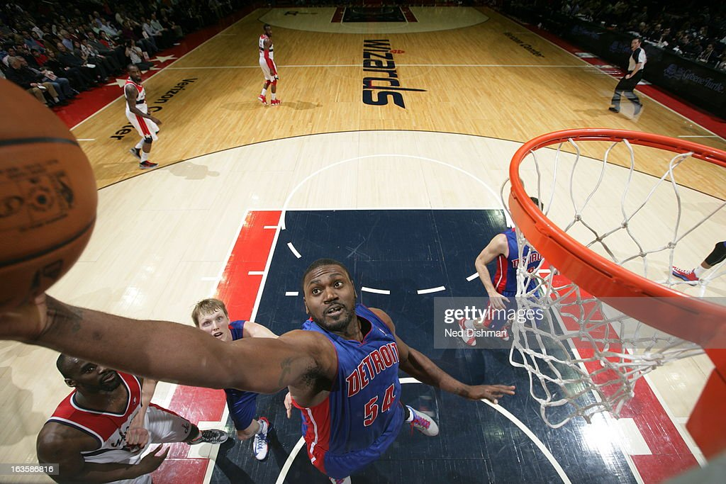 <a gi-track='captionPersonalityLinkClicked' href=/galleries/search?phrase=Jason+Maxiell&family=editorial&specificpeople=651723 ng-click='$event.stopPropagation()'>Jason Maxiell</a> #54 of the Detroit Pistons grabs a rebound against the Washington Wizards at the Verizon Center on February 27, 2013 in Washington, DC.