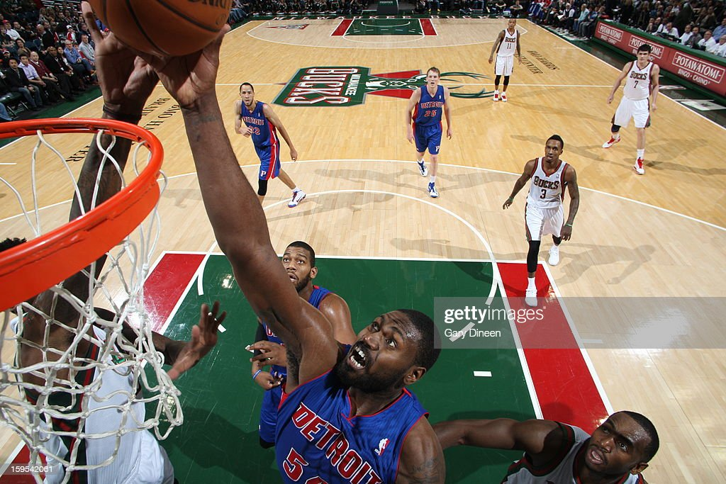 <a gi-track='captionPersonalityLinkClicked' href=/galleries/search?phrase=Jason+Maxiell&family=editorial&specificpeople=651723 ng-click='$event.stopPropagation()'>Jason Maxiell</a> #54 of the Detroit Pistons grabs a rebound against the Milwaukee Bucks on January 11, 2013 at the BMO Harris Bradley Center in Milwaukee, Wisconsin.