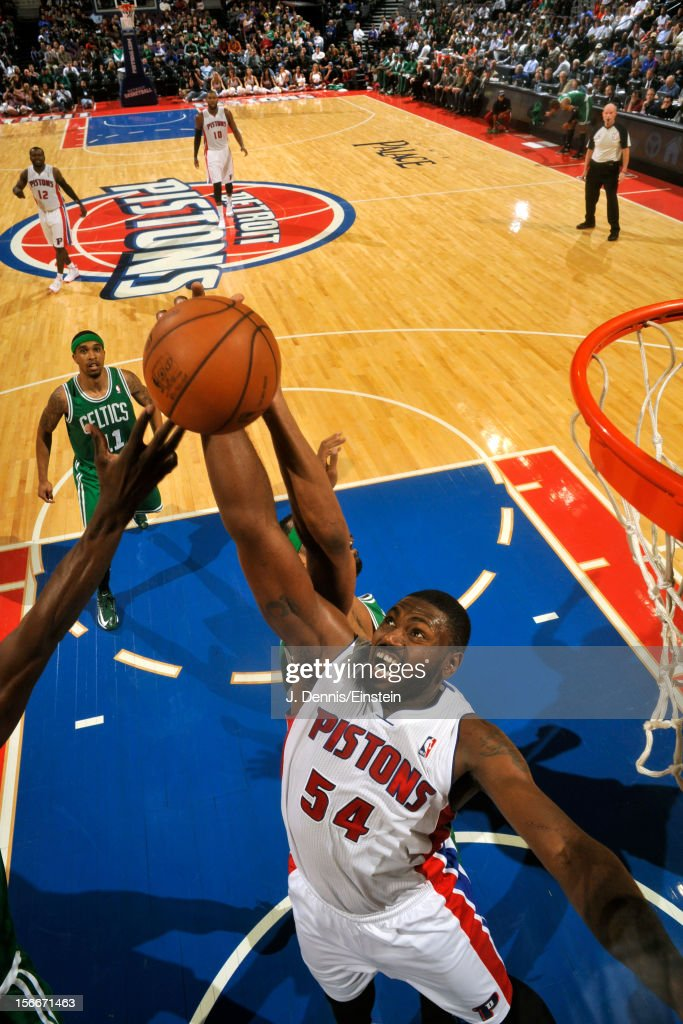 Jason Maxiell of the Detroit Pistons grabs the rebound against the Boston Celtics on November 18 2012 at The Palace of Auburn Hills in Auburn Hills...